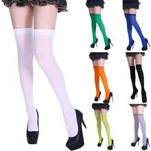 Sexy Black Red Blue Pink Green Thigh High Stockings Women Solid Color Over Knee Long Thin Stockings without Pants#D(China)