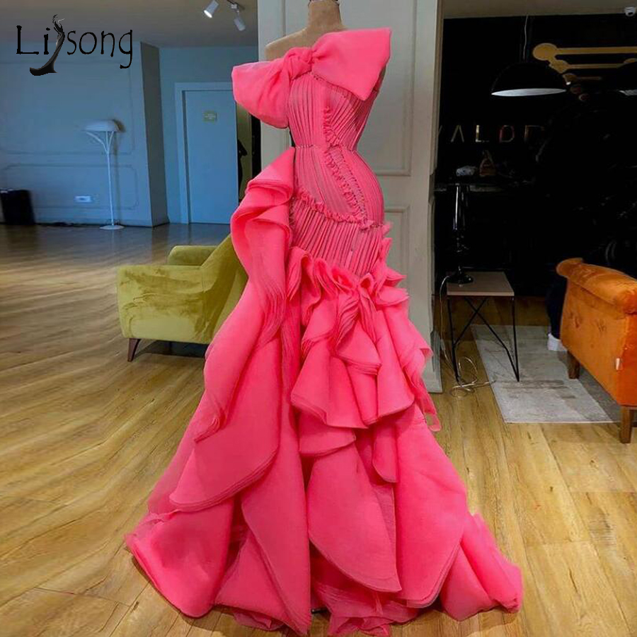 Hot Pink Ruffles Mermaid Prom Dresses 2020 Real Image Elegant Long Prom Gowns Big Bow Fashion Formal Party Dress
