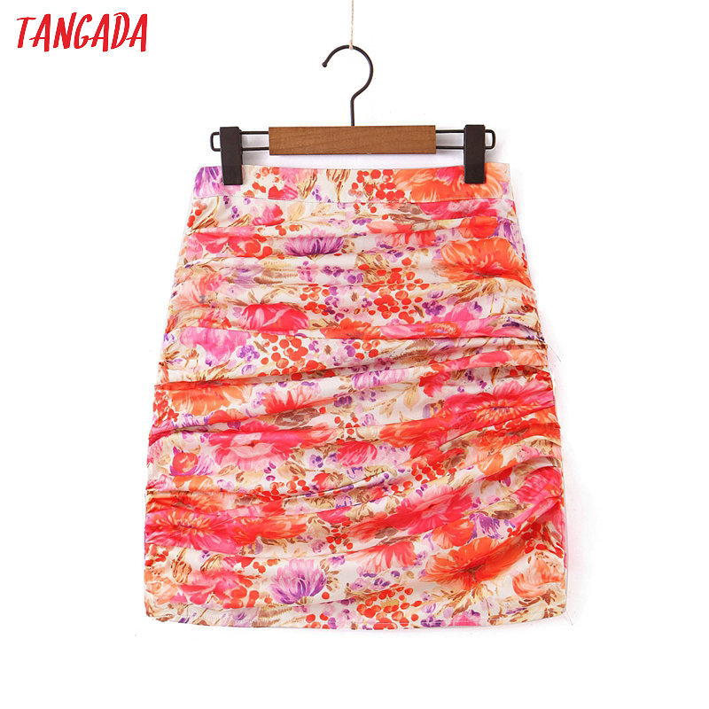Tangada Women Floral Pleated Mini Skirt Faldas Mujer Vintage Side Zipper Ladies Elegant Chic Short Skirts SL83