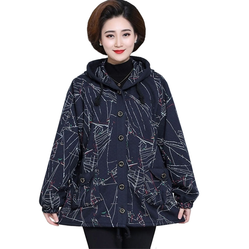Oversized Grandma Cotton Trench Coats Spring Autumn Loose Print Long Coats Single-breasted Middle-aged Ladies Windbreaker 8XL