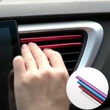 10pcs רכב סטיילינג Mouldings אוויר לשקע לקצץ רצועת אוטומטי אוויר אוורור לקצץ שפה מכוניות קישוט רצועות Chrome רכב אבזרים