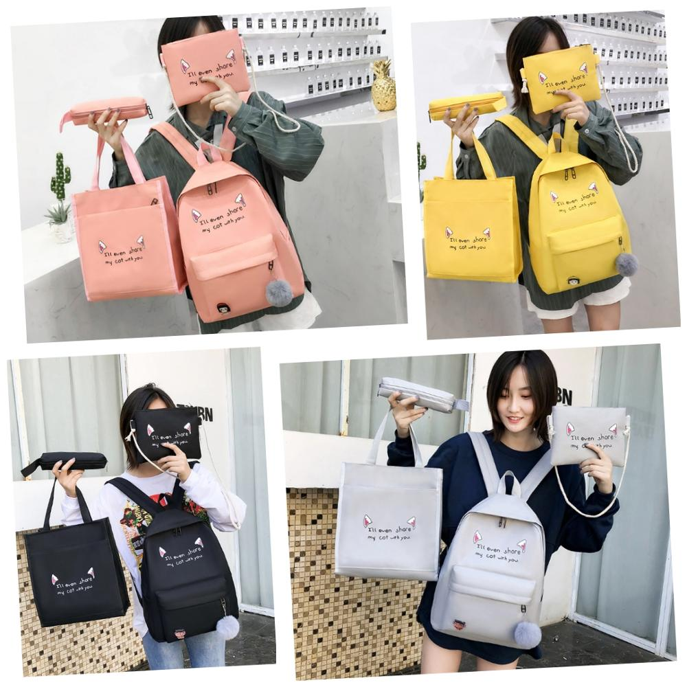 Teen Girls Fashion Casual 4pcs/set Female Canvas Composite Bags Women Travel Backpacks School Shopping Shoulder Packs Clutch