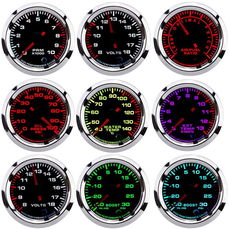 7 Colors Oil Pressure Gauges Turbo Boost Gauge Oil Temp Water Temperature Meter With Sensor for Car Racing fuel meter 52mm auto