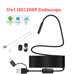 8mm lente Da Câmera Endoscópio HD 1200P IP68 2M Tubo Flexível Mirco USB Tipo-C Endoscópio Rígido endoscópio Inspeção de vídeo para o Android