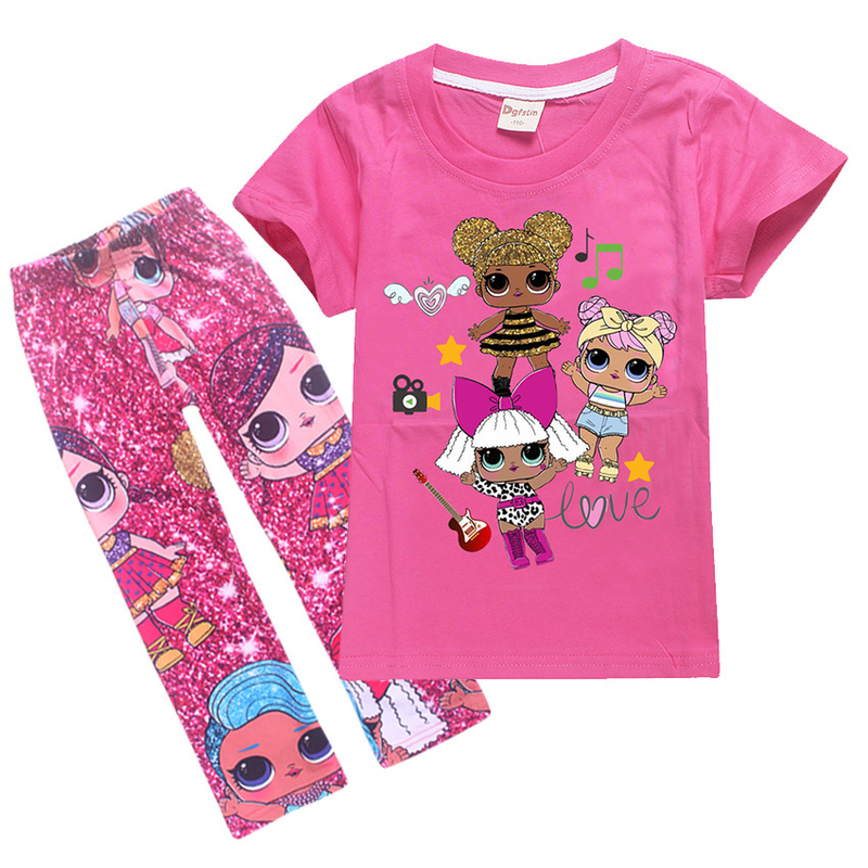 Summer Toddler Girl Clothes Cute Children Kids Baby Girls Lol Clothes Short Sleeve Top T Shirt+Pant Outfit Clothing Set 4-12Y