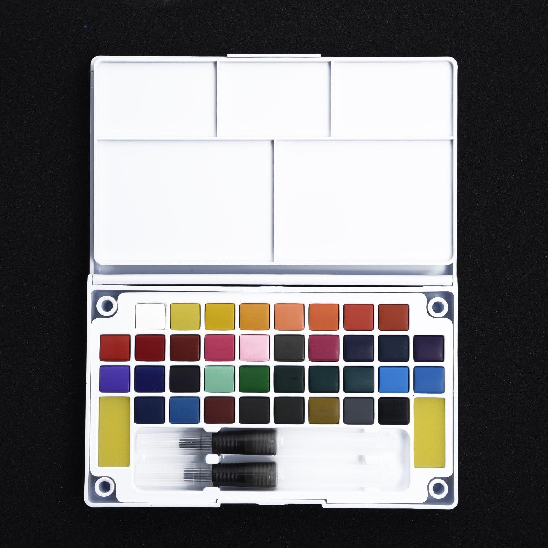 12-36 Watercolor Paint Box With Paintbrush Portable Watercolor Sponge Kits Set
