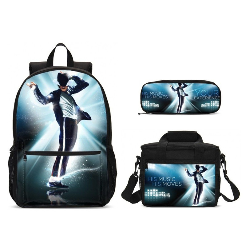 Cartable enfant avec boîte de nourriture sac à dos d'école de mode pour adolescents garçons 3 pièces/ensemble Michael Jackson ensemble de sac d'école Mochila Escolar