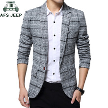 2019 Men #8217 s Plaid Suit Jacket Spring Autumn Mens Blazers Male Casual Slim FIts Coat Brand Clothing Plus Size 5XL Blazer Masculino cheap Short COTTON Polyester Full Single Breasted M L XL 2XL 3XL 4XL Navy Blue Grey Khaki Spring Autumn Men s Casual Suit Dropshipping