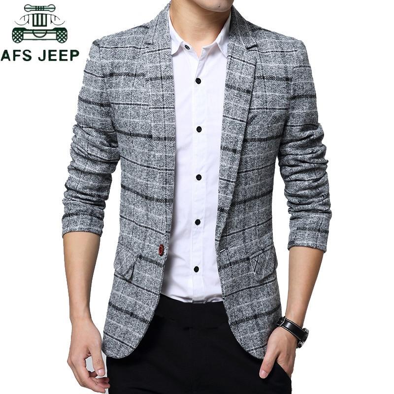 2019 Men's Plaid Suit Jacket Spring Autumn Mens Blazers Male Casual Slim FIts Coat Brand Clothing Plus Size 5XL Blazer Masculino