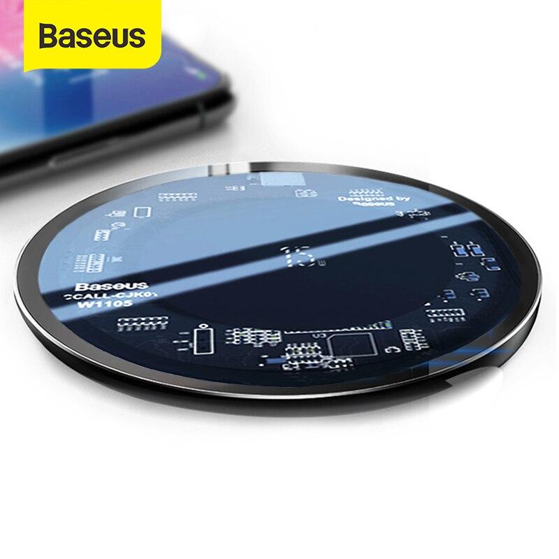 Baseus 10W Qi Carregador Sem Fio para o iphone X/XS Max XR 8 Plus Elemento Visível Carregamento Sem Fio pad para Samsung S9 S10 + Nota 9 10