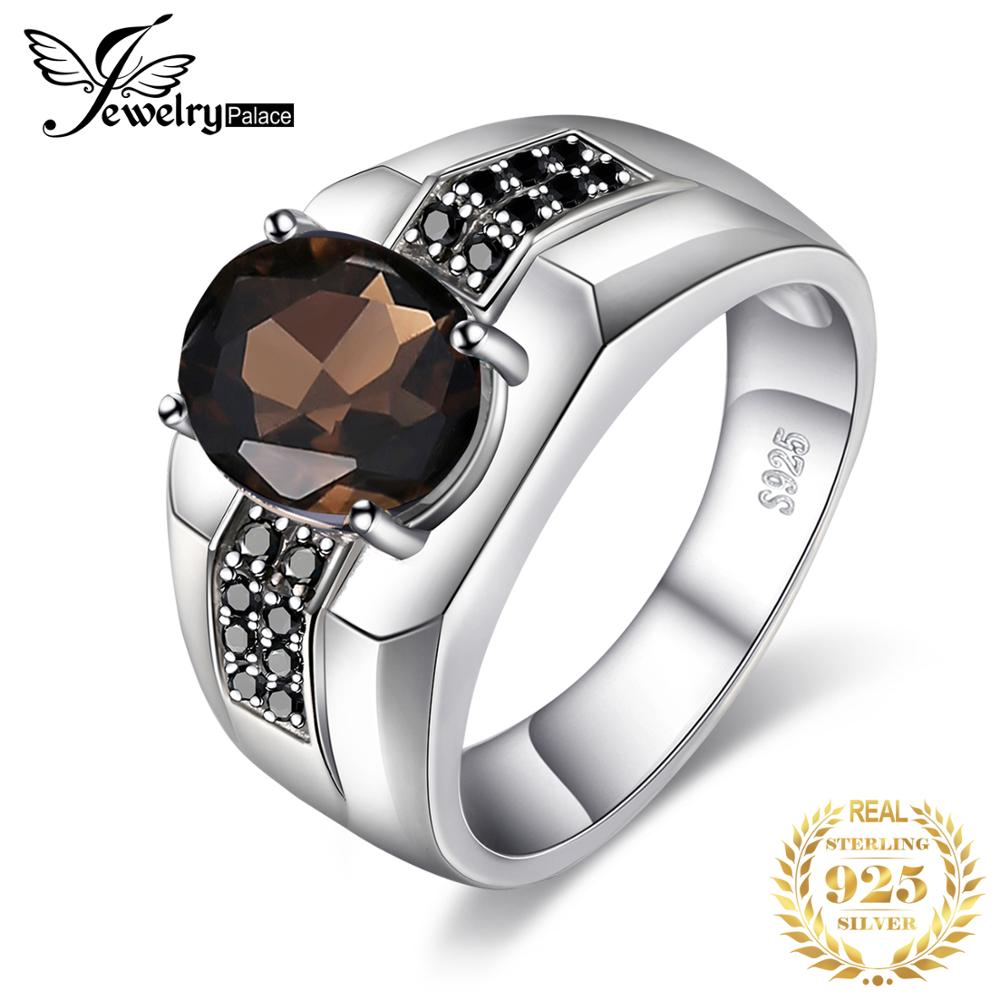 Jewelrypalace Men's Oval Natural Smoky Quartz Black Spinel Anniversary Wedding Ring Band 925 Sterling Silver Rings Gemstone
