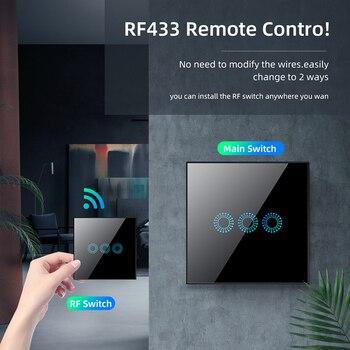 RF433 Smart Light Touch Switch Wireless Wall WiFi No Neutral Wire