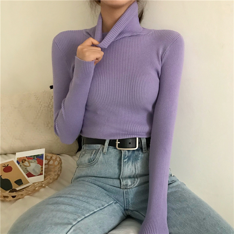 Turtleneck Pullovers Sweaters Women 2021 Autumn Winter Primer Shirt Long Sleeve Short Slim fit tight Jumper Tops Solid