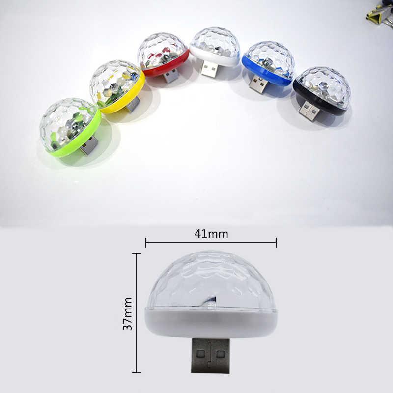 Mini luces Led de discoteca USB para escenario, fiesta de Navidad, lámpara de decoración para coche DJ Karaoke, Control de música, bola mágica de cristal, luz colorida