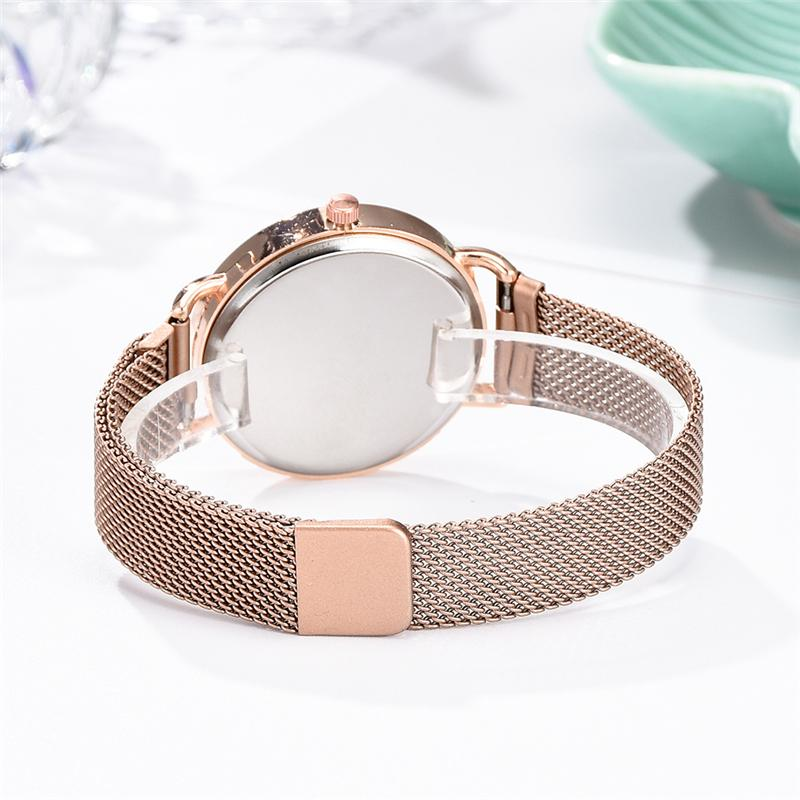 Rose Gold Mesh Strap Women's Fashion Watches Simple Numbers Dial Luxury Quartz Watch Women Clock Rose Gold Pointer Wristwatches 6