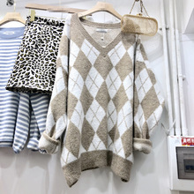 2019 Autumn Sweater New Women Loose Design V-neck Plaid Pullovers V-Neck Computer Knitted Sweaters