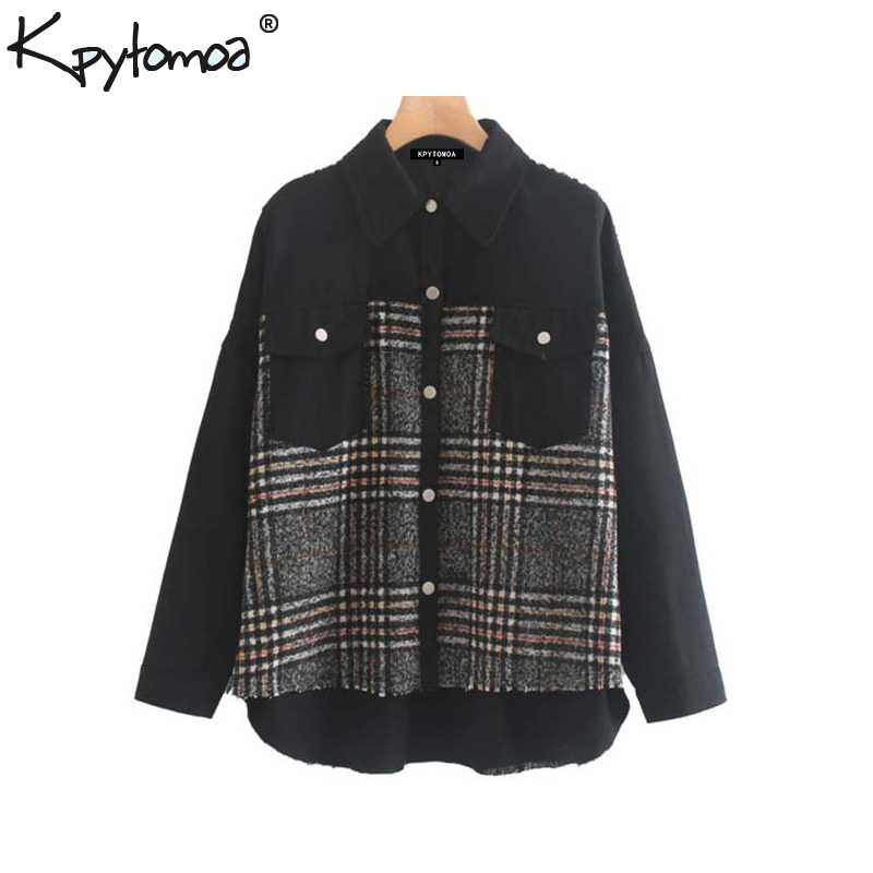 Vintage Stylish Plaid Patchwork Pockets Oversized Jacket Coat Women 2019 Fashion Long Sleeve Loose Ladies Outerwear Chic Tops