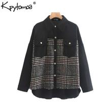 Vintage Stylish Plaid Patchwork Pockets Oversized Jacket Coat
