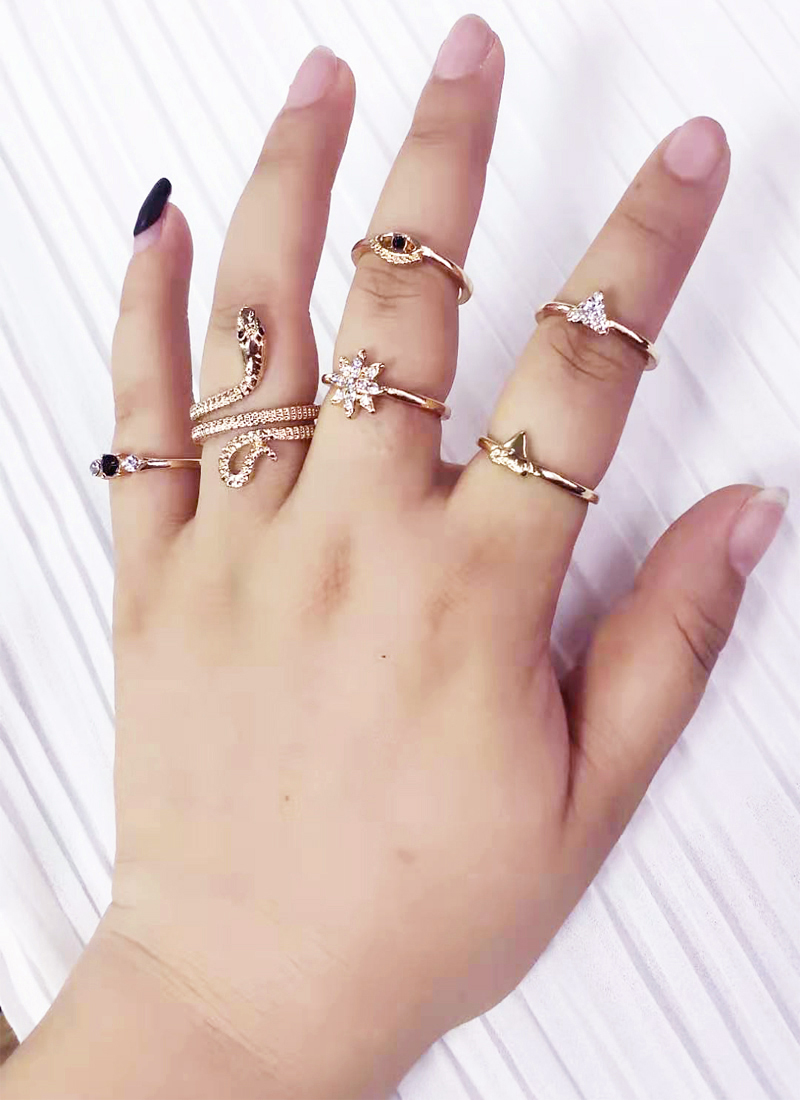 6PCS Snake Ring Fashion Bohemian Middle Finger Knuckle Ring Set, Women's Crystal Geometric Finger Ring, Bohemian Jewelry Party