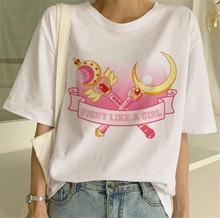 Sailor Moon Kawaii Aesthetic T Shirt Women Harajuku New Short Sleeve 90s Ulzzang T-Shirt Cute Cat Tshirt Cartoon Top Tees Female
