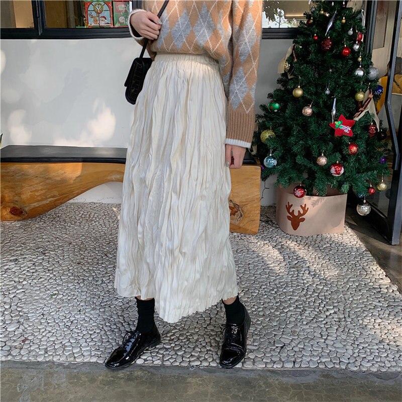 Alien Kitty Fashion Suede Fabric Elastic Waist Loose Pleated 2020 Chic Hot Women Streetwear Girls Solid High Waist Long Skirt