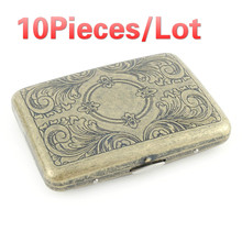 10pieces Bronze vintage metal cigarette box holder pattern 16PCS tube cigar retro pocket case smoking accessories mens gift smoking accessories men lady gift cigarette storage container case aluminium alloy tobacco holder pocket box magnetic button