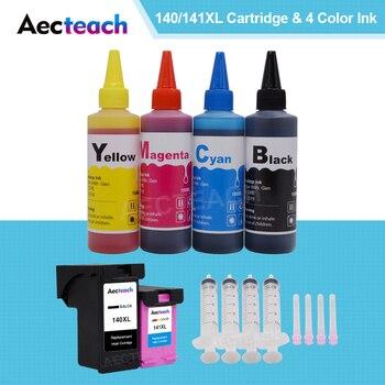 Aecteach のための hp 140 141 xl hp 140 hp 141 インクカートリッジのための hp Photosmart の C4283 C4583 C4483 C5283 プリンタ + 4 ボトル染料インク