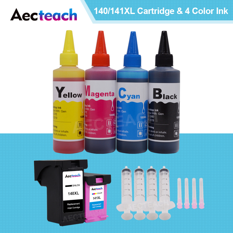 Aecteach for <font><b>HP</b></font> <font><b>140</b></font> <font><b>141</b></font> XL for hp140 hp141 Ink cartridge for <font><b>hp</b></font> Photosmart C4283 C4583 C4483 C5283 printer + 4 Bottle Dye Ink image