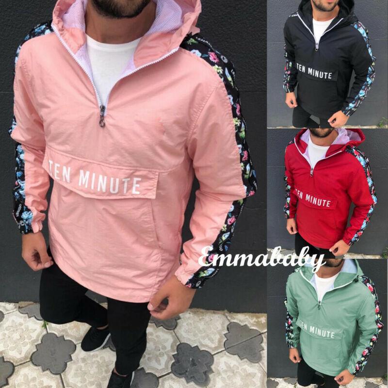 Men Half Zip Pullover Hood Lightweight Windbreaker Front Pocket Jacket Fashion
