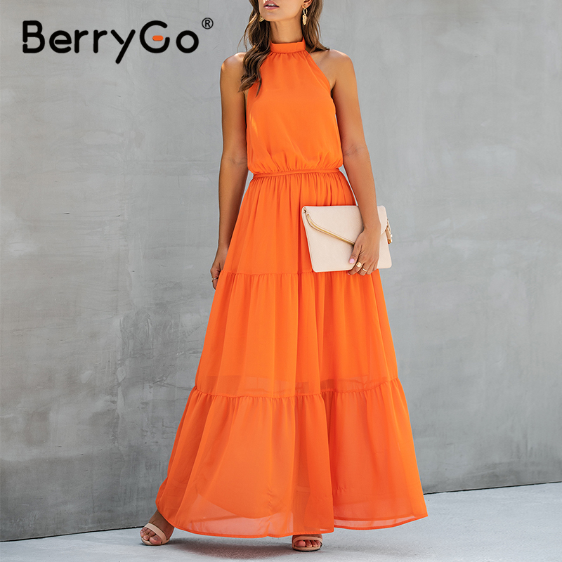 BerryGo Evening Party Halter Dress Women Bow Tie High Waist Sexy Backless Dress Elegant Long Summer Dress Plus Size Vestidos