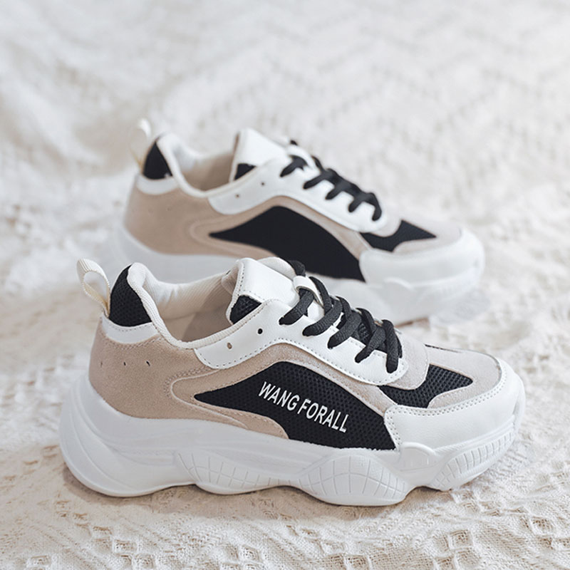 Women Casual Shoes Fashion Women Sneakers Breathable Mesh Walking Shoes Lace Up Thick Sole Flat Shoes 21818AHT3222 in Women 39 s Vulcanize Shoes from Shoes