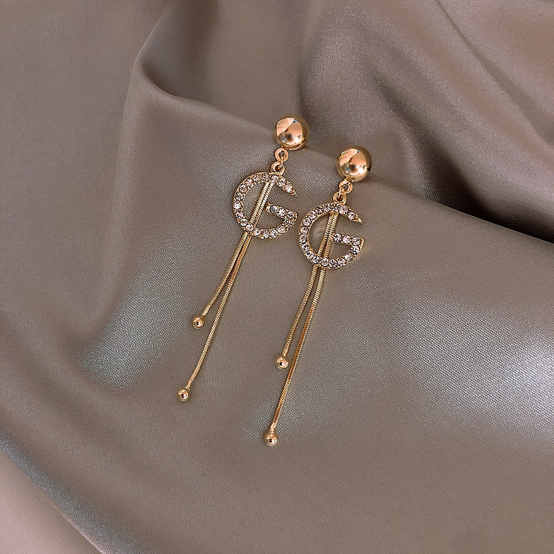 New Temperament Full Diamond G Letter Long Earrings Korean Fashion Tassel Earrings Female Net Red Personality Jewelry