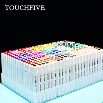 touchnew 40 60 80 168 colors graphic marker pens set sketch manga art student markers white pen Touchfive 30 40 60 80 168 Colors Marker Set Sketch Markers Brush Pen Dual Head Art Markers Set For Draw Manga Animation Design