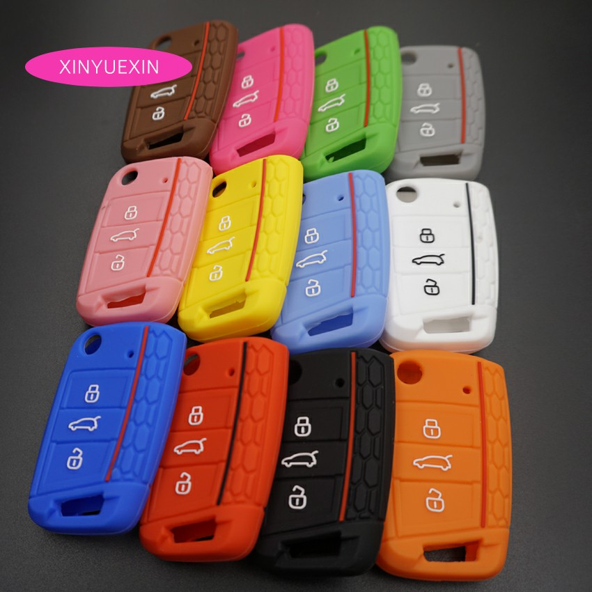 Xinyuexin New For VW Golf 7 MK7 Silicone Car Key Cover FOB Case For Skoda Octavia A7 New Polo Remote Key Jacket Bag Car-stying