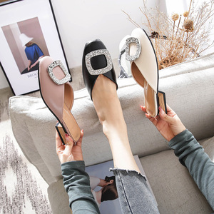 Image 4 - Genuine Leather Mules Women Crystal Buckle Closed Toe Slippers Casual Square Heels Slides Slip on Loafers Ladies Big Size Shoes