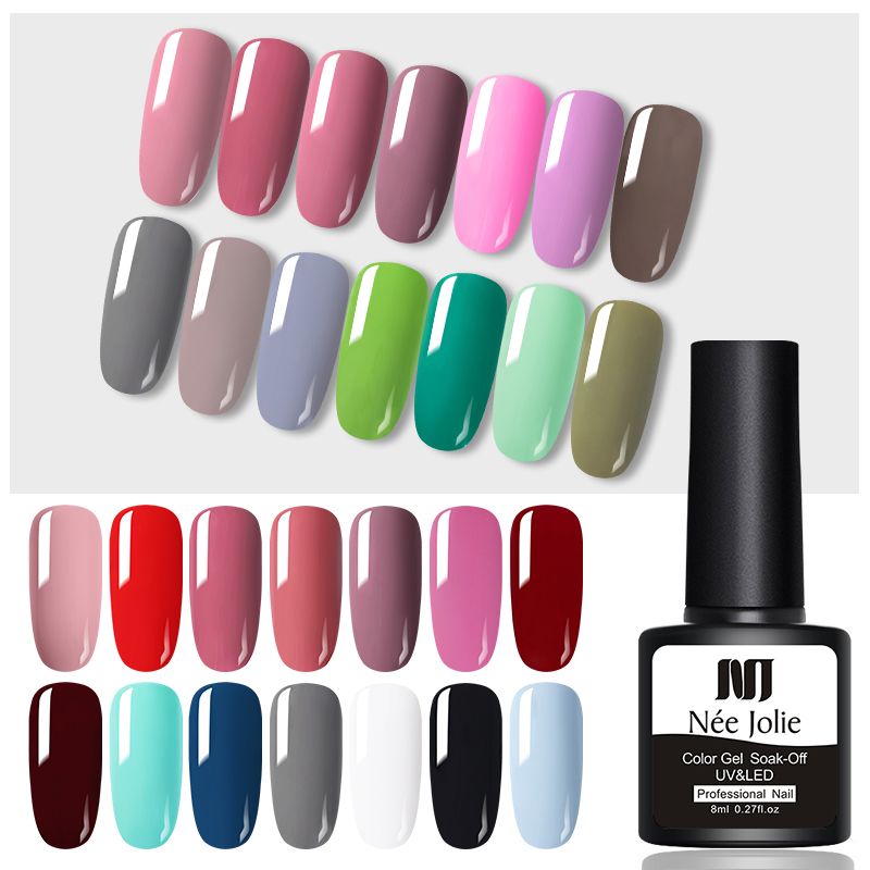 NEE JOLIE 8ml Solid Color Gel Nail Polish  Matting Top Coat Black Red Semi Permanent UV Gel Varnish DIY Nail Art Paint Gel