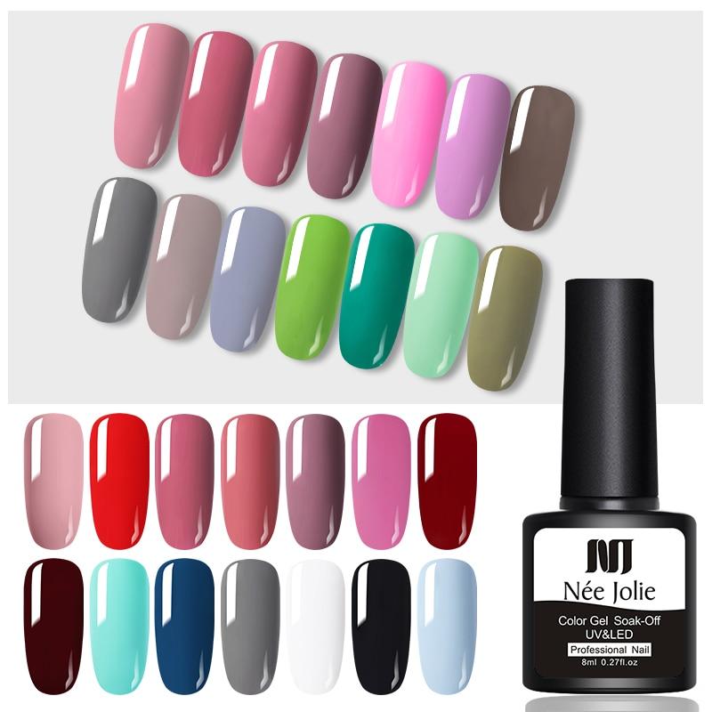 NEE JOLIE 8ml Solid Color Gel Nail Polish  Matting Top Coat Black Red Semi Permanent UV Gel Varnish DIY Nail Art Paint Gel