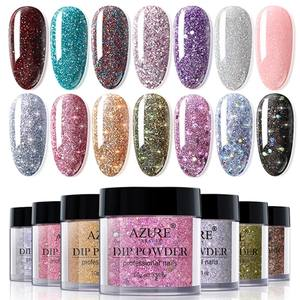 Shiny Glitter Dip-System-Powder Nail-Art Sparkly Holographic BEAUTY Color AZURE Gradient