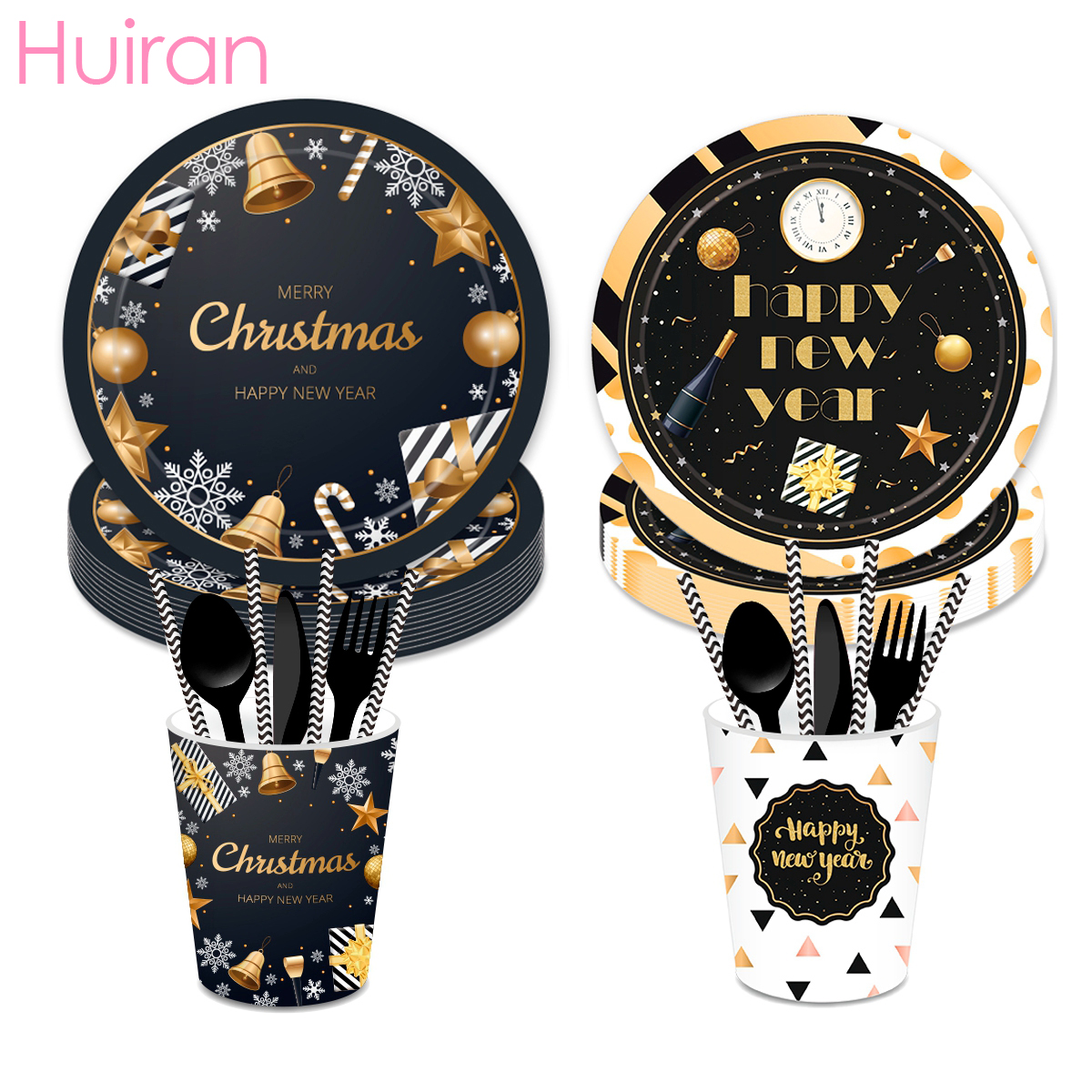 Huiran Black Gold Christmas Disposable Tableware Decorations For Home 2019 Xmas Gift Navidad Neol Happy New Year 2020