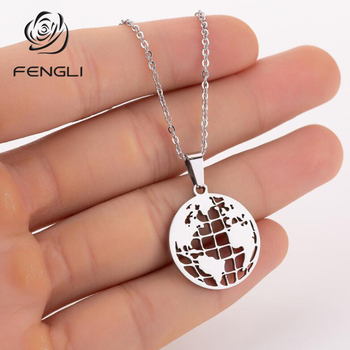 FENGLI Earth Map Floor Plan Stainless Steel Pendant Necklaces Women Love Latitude and Longitude Chain Medical Geography Jewelry image