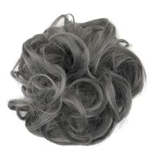 Easy-To-Wear Elastic Chignon Hairpiece Messy Curly Bun Mix Gray Natural Chignon Synthetic Hair Extension Chic And Trendy(China)