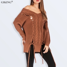 GIKING Lace Up Sweater Women 2019  Autumn Winter Long Sleeve Knitted Sweater Female Pullover Sexy V Neck Streetwear Long Sweater autumn winter women pullover sweater sexy deep v neck black color sweater dresses hollow lace up short knitted dress for ladies