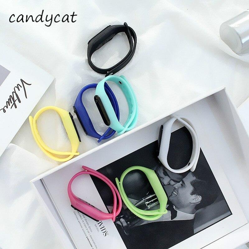 CandyCat Mini Led Bracelet Watch Sports Watch Men's Watch Women's Watch Couple's Watch Children's Student Electronic Watch