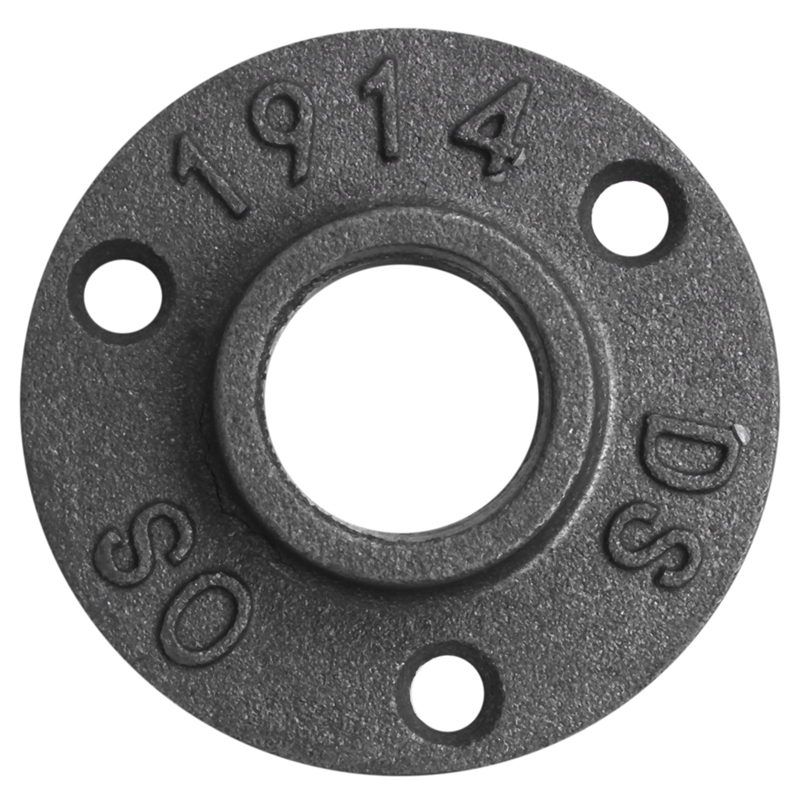 3/4inch Malleable Iron Pipe Floor Flange Threaded Fitting, Black- Pack of 10