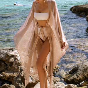 Image 4 - See though Gossamer Beach cover up Sexy bikini 2020 sash belt Long beach dress Gold tunic kimono o neck swimwear women biquini