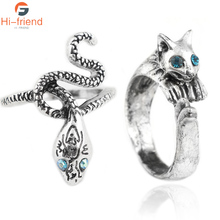 SC Silver Dark Souls 3 Metal Rings High Quality Crystal Vintage Alloy Snake Cat Shape Party ring for men and women Game Jewelry
