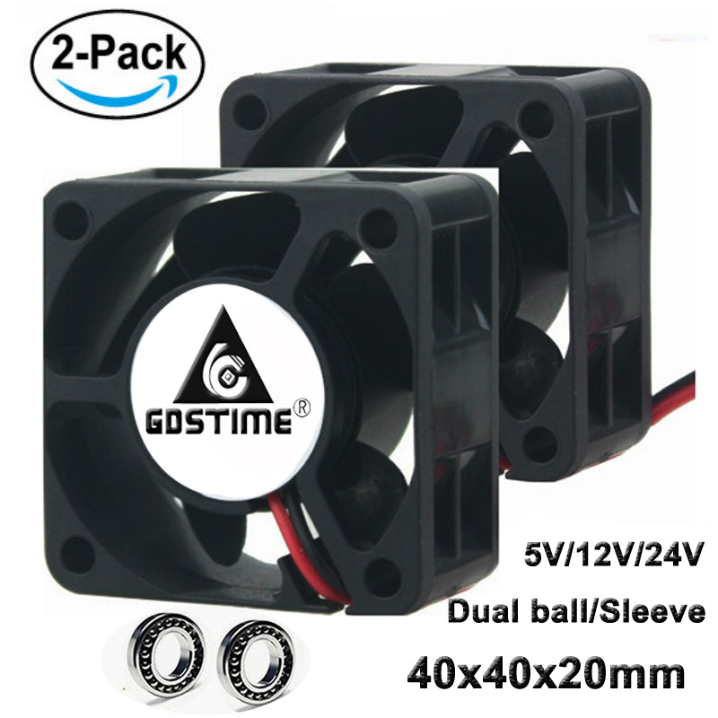 Gdstime 2 Pcs DC <font><b>5V</b></font> 12V 24V 40mm Cooling <font><b>Fan</b></font> 40mm x <font><b>20mm</b></font> Small Brushless Cooler <font><b>Fan</b></font> 40x40x20mm 4cm 4020 Computer case Heatsink image