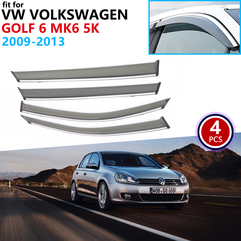 For VW Volkswagen Golf 6 MK6 5K 2009 2010 2011 2012 2013 Window Visor Vent Awnings Rain Guard Deflector Shelters Car Accessories