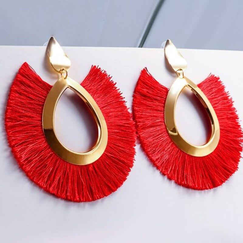 Bohemian Big Tassel Drop Earrings for Women Lady Female Fringe Handmade Brincos Statement Fashion Woman Earring