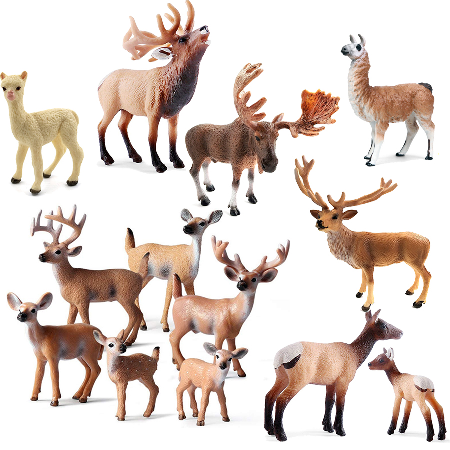Simulation Elk Toy Deer Figurines Set,White-Tailed Fawn Toy Woodland Animal Model Family Figures Cake Toppers Toys